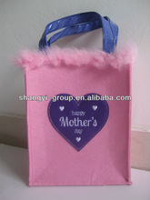 (VA-04A)Festive Happy Mother's Days Felt Tote Bag/Felt Gift Handbag