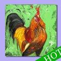 Gallo de la pintura, de la mano- pintado de arte abstracto decoración de la pared de gallo de la pintura