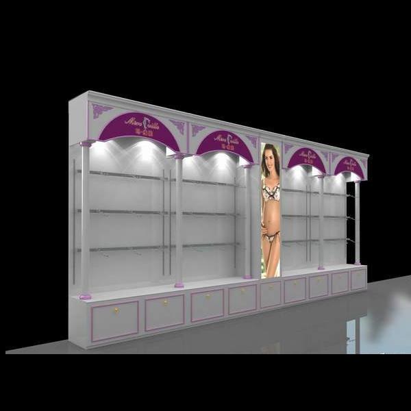 Dükkan ahşap dekorasyon/iç çamaşırı mağazası dekorasyon/raf mağaza dekorasyonu