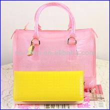 New fashion colorful gilrs clear pink pvc bag handbag 2014