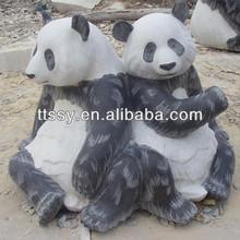Marble panda garden statue