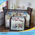 100% pamuk bebek beşik yatak seti toptan/ucuz hayvan baskı bebek yatak setleri çin toptan