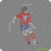 Cool football player rhinestone transfer sports