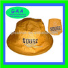 100% nylon foldable waterproof bucket hat in yellow with word printing