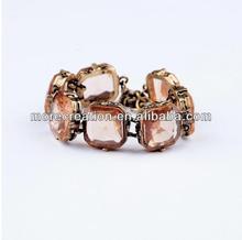 Fashion jewelry 2014 top designer vintage clear brown glass crystal snap bracelet golden chain bracelets