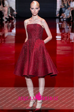 ES05 China Red Short Cocktail Hand Beaded Crystal Evening Dress