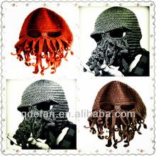 woolen hat Beard hats knit beard hat crochet knight helmet