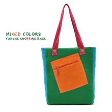 Colorful Cheap Mixed Canvas trendy beach bag Shopping Bag