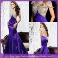 New elegante Appliqued frisada roxo traseira aberta sereia vestido de noite