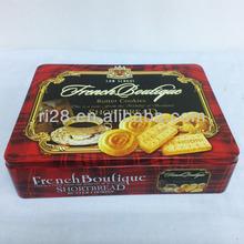 Rectangular cookie tin box with insert lid