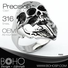 new plastic skull stainless steel biker rings