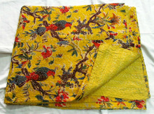 Yellow Bird print kantha quilt bedspread, kantha quilt wholesale, printed bedcover throw bedspread