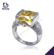 Yellow crystal romantic female silver white gold diamond ring