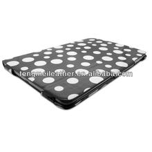 Black And White Ultra Slim Polka Dot Design Flip Folio Cover Case For Ipad 4/3/2,Colors Custom Case For Ipad 2/3/4
