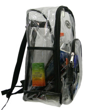 Deluxe Heavy Duty 0.5mm clear pvc see through backpack book bag