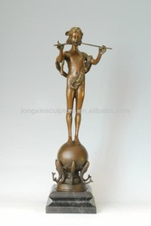 Nude Girl Standing on the Ball Bronze Sculpture