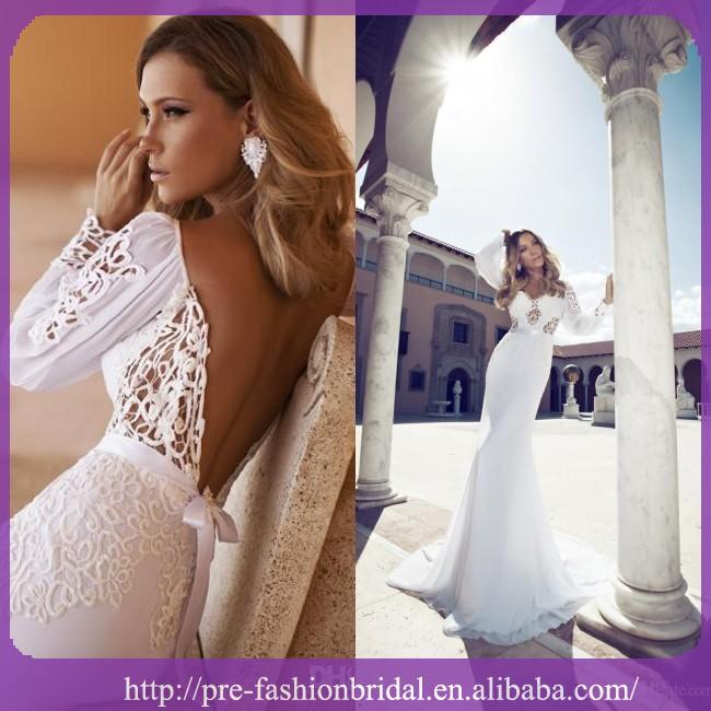 2014 Julie Vino New Design Sexy V profundo voltar laço longo mangas Train vestidos de noiva vestidos de noiva