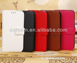 Litchi Pattern Card Slot Magnet Button Leather Case for Samsung Galaxy S4 Mini I9190