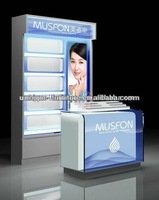 2014 baking paint finished makeup display kiosk,display mall kiosk,countertop makeup displays
