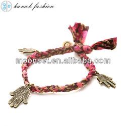2014 Woven Evil Eye Braided Fabric Hand Symbol Hand Bracelet