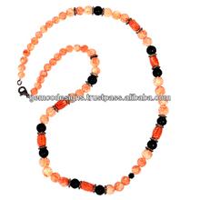 spianare set diamante corallo nero onice carving collana di perline designer fatto a mano gioielli grossista