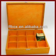 Elegant Yellow Wooden Tea Bag Chest