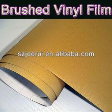 Gold 3m car decoration vinyl car wrap brushed aluminum vinyl