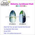 Style chinois bout des ongles artificiels bleu et blanc porcelaine conception Salon ongles avec paillettes d'or
