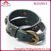 leather bracelet two wrap copper wrist band skull stud