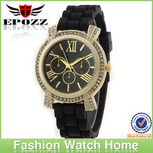 Luxury silicon black band square silicone sport watch