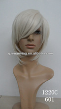 Most popolar synthetic short jack white wig for euro-american woman