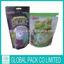 stand up zip lock transparent PET dog food plastic packaging bag