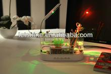 Gift Mini LCD Display Desktop Fish Tank Aquarium USB Aquarium LED Clock Light desktop calendar