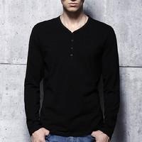 Men's 100% Cotton Tight Fit Long Sleeve T Shirt