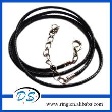 """черный вощеной нитью кожа плетеные шнуры оёерелье с серебряным покрытием застежкой омар 2mm 19.5"""""""