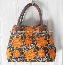 Hand Bag Cotton Kantha Tropicana Pirate Black