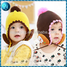 New style fashoin cute winter knitted earflaps hats for babies