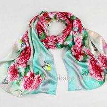 Fashion silk satin material long scarf