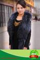 женщины красота природное серебро фокс коёаная ёилет, меховым воротником& кружевами оформлены