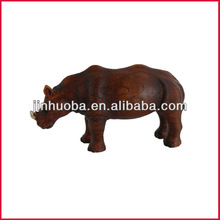 Resin fake wood rhinoceros sculpture rhinoceros statue home deocration for sale