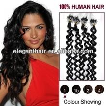 100%Human Hair Micro braid /Micro Loop Ring black color curl Hair Extension