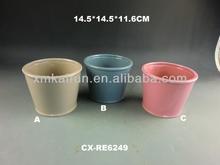 Dolomite flower pot 3 color assort