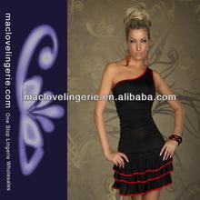 ML17657 Wholesale Women Black One-shoulder Unique Design Latest Women Dresses