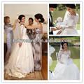 2014 rendas de vestidos de noiva sexy off ombro manga longa laço de tule e cetim botão coberto de volta bola vestido de noiva vestidos 1060
