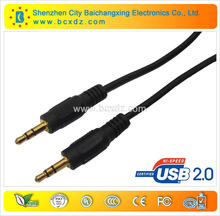 2014 new product China manufacturer 1.8m cable car audio aux 3.5mm stereo jack gold