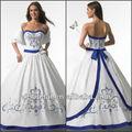 2014 stile classico senza spalline in raso ricamo royal blu e bianco abiti da sposa
