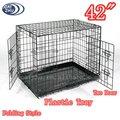 """Dobrável preto 36"""" 2 porta casinha de cachorro w/bandeja de plástico"""