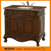 Antique solid wood marble top bathroom vanity base cabinet canada