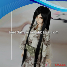 Good quality synthetic fiber soft black doll wigs