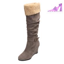2015 women grey high heel knee snow boots